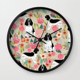English Springer Spaniel dog breed florals dog gifts for dog lovers dog breeds Wall Clock