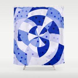 Polka Dots Blue Geometric Design Shower Curtain