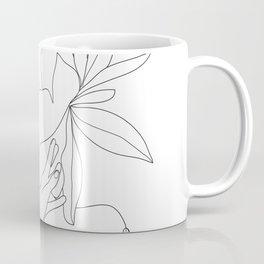 Minimal Line Art Woman Flower Head Coffee Mug