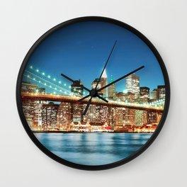Amazing Historic Brooklyn Bridge Manhattan New York City United States Ultra HD Wall Clock