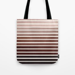 Watercolor Gouache Mid Century Modern Minimalist Colorful Raw Umber Stripes Tote Bag