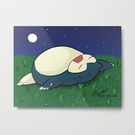 Snorlax Sleeping Metal Print