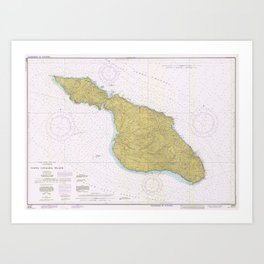 Vintage Map of Santa Catalina Island CA (1977) Art Print