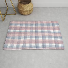 Pink And Blue Watercolour Checkers Rug