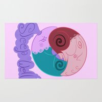 ying yang Area & Throw Rugs featuring Shiney Dreameater Ying Yang  by Ink City