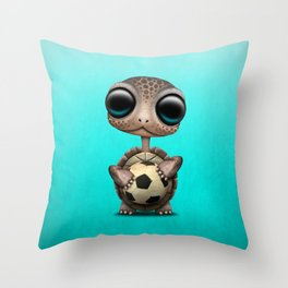 Cute Baby Turtle With Football Soccer Ball Throw Pillow