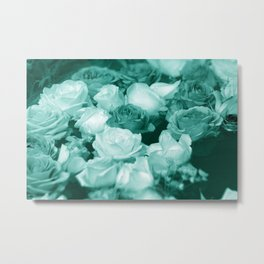 Teal Roses Metal Print