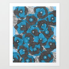 In Bloom (blue & grey) Art Print