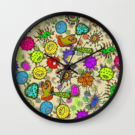 Doodle Germs Wall Clock