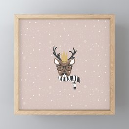 Holiday Deer Illustration Framed Mini Art Print