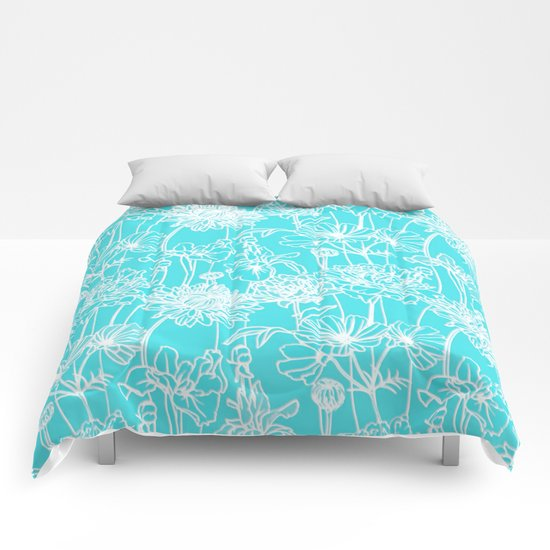 white flowers on turquoise Comforters