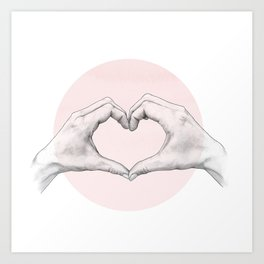 heart in hands // hand study Art Print