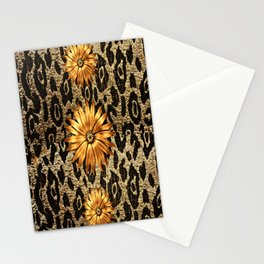 Animal Print Cheetah Triple Gold Stationery Cards
