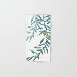 green olive leaf watercolor Hand & Bath Towel