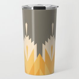 Tribal Feather Pattern Yellow Gold Travel Mug