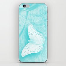 butterflies in abstract landscape in blue iPhone Skin