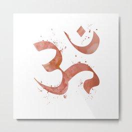 Om Art Colorful Rose Gold Watercolor Gift Spiritual Symbol Peaceful Art Aum Symbol Peace Art Metal Print
