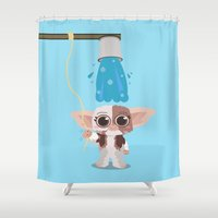 gizmo Shower Curtains featuring Ice bucket challenge Gizmo by AlbaRicoque