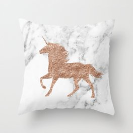 Rose gold unicorn on marble Throw Pillow