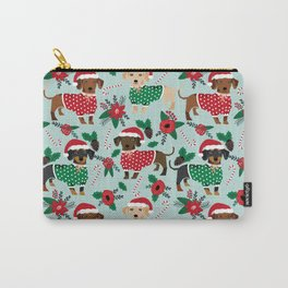 Dachshund christmas sweater florals poinsettia holiday red and white santa hat for dog lover Carry-All Pouch