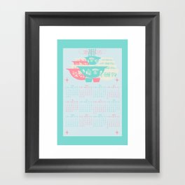 2017 Pink and Turquoise Pyrex Calendar Framed Art Print