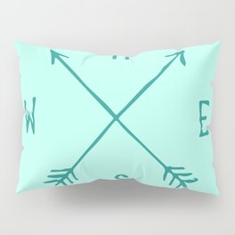 Find My Way \\ Teal Compass Art Pillow Sham