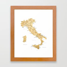 Map of italy with cities in gold - P Framed Art Print
