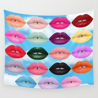 lipstick Wall Tapestries featuring LIPSTICK by I Love Decor
