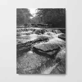 Black and White Rock Crossing Over Waterfall Nature Photography Metal Print