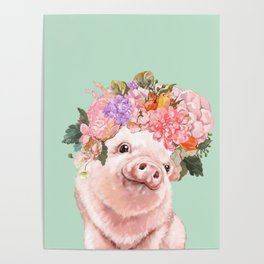 Baby Pig with Flowers Crown in Pastel Green Poster