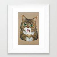 lil bub Framed Art Prints featuring Lil Bub - famous cat by PaperTigress