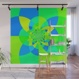 Green & Turquoise Kaleidoscope Design Wall Mural