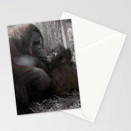 Baby Orangutan Kissing Her Mom Stationery Cards