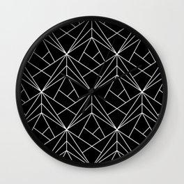 White Geometric Pattern on Black Background Wall Clock