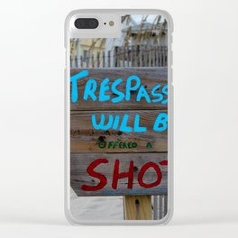 Funny Beach Sign Clear iPhone Case