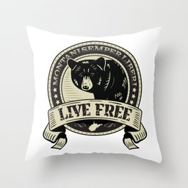 WV Black Bear Live Free T-Shirt Throw Pillow
