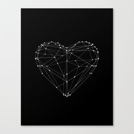 Polygon Love Heart modern black and white minimalist home room wall decor canvas Canvas Print