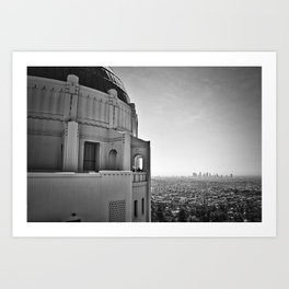 Griffith Park Observatory And Downtown Los Angeles Art Print