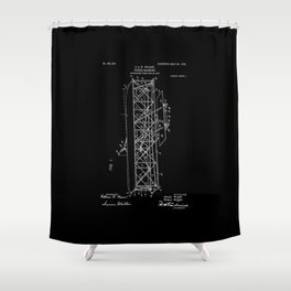 Wright Brothers Patent: Flying Machine - White on Black Shower Curtain