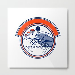 Honey Badger Land Sea Air Rescue Mascot Metal Print