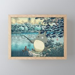 Japanese woodblock mashup Framed Mini Art Print