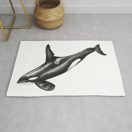 Orca killer whale ink art Rug