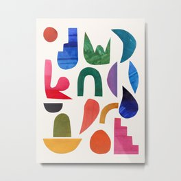 'Night Garden' Abstract Colorful Paper Collage Mid Century Fun Minimal Shapes by Ejaaz Haniff Metal Print