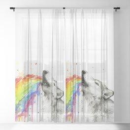 Wolf Rainbow Watercolor Animal Sheer Curtain
