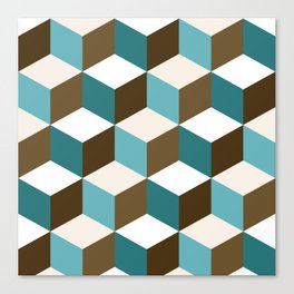 Cubes Pattern Teals Browns Cream White Canvas Print