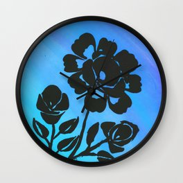Rose Silhouette with Painted Blue Background Wall Clock