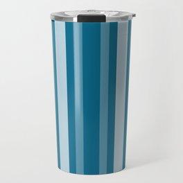 Dark Cerulean Victorian Lady Stripe Travel Mug