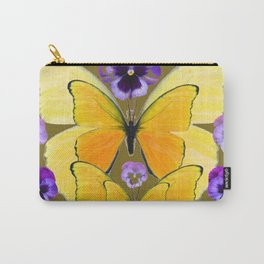 SPRING PURPLE PANSY FLOWERS & YELLOW BUTTERFLIES GARDEN Carry-All Pouch