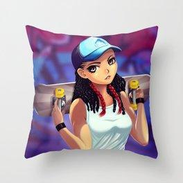 Skater girl Throw Pillow