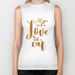 All you need is Love and a cat (gold) Biker Tank
